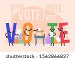 funny vote characters stand... | Shutterstock .eps vector #1562866837