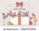 people in a huge gift box.... | Shutterstock .eps vector #1562931904