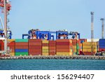 port cargo crane and container... | Shutterstock . vector #156294407