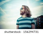 stylish hipster model with long ... | Shutterstock . vector #156294731