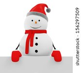 Snowman with Blank Board isolated on white background - stock photo
