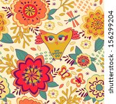bright floral pattern with owl... | Shutterstock .eps vector #156299204