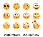embarrassed emoji set. social... | Shutterstock .eps vector #1563004357