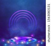 empty round pedestal or... | Shutterstock .eps vector #1563083131
