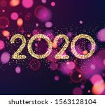 happy new year 2020 purple card ... | Shutterstock .eps vector #1563128104