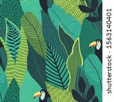tropical seamless leaves... | Shutterstock .eps vector #1563140401