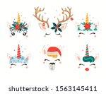 Christmas Set With Cute Unicorn ...