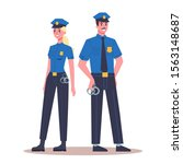 police office couple in the... | Shutterstock .eps vector #1563148687