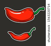 Set Of Red Chili Isolated For...