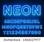 neon rounded blue font  glowing ... | Shutterstock .eps vector #1563227977