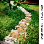 Small photo of Step down of waylay in nice garden