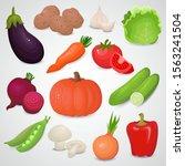 vegetable 3d vector icon set. | Shutterstock .eps vector #1563241504