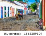 Small photo of Street of historical center in Paraty, Rio de Janeiro, Brazil. Paraty is a preserved Portuguese colonial and Brazilian Imperial municipality. Cityscape of Paraty