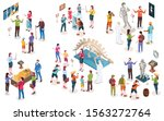 set of isolated museum objects... | Shutterstock .eps vector #1563272764
