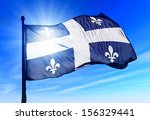 Quebec  Canada  Flag Waving On...