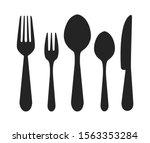 vector cutlery set. fork  knife.... | Shutterstock .eps vector #1563353284