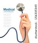 female hand with stethoscope.... | Shutterstock .eps vector #156335345