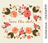 invitation or wedding card with ... | Shutterstock .eps vector #156336959