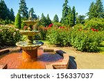 Stock photo fount in the portland rose garden 156337037