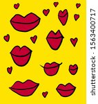 drawing of red lips on a yellow ...   Shutterstock . vector #1563400717