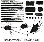 vector set of grunge black ink...