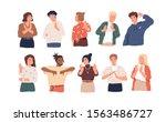 negative gestures flat vector... | Shutterstock .eps vector #1563486727