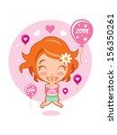 cute girl in love | Shutterstock .eps vector #156350261