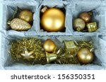 christmas toys in wooden box... | Shutterstock . vector #156350351