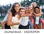 group of young people relaxing... | Shutterstock . vector #156352934