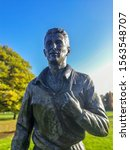 Small photo of Middlesbrough, England, UK. November 18th 2019. Bronze statue of Brian Clough located in Albert Park, Middlesbrough. Brian was a footballer and football manager. Born at Valley Road Middlesbrough.