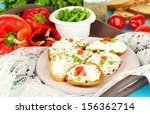 sandwiches with cottage cheese... | Shutterstock . vector #156362714