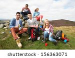 group of young people hiking in ... | Shutterstock . vector #156363071