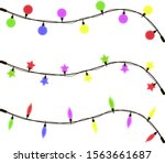 glowing christmas garland of... | Shutterstock .eps vector #1563661687