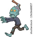 cartoon zombie running with an... | Shutterstock .eps vector #1563668857