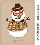 original hipster snowman in... | Shutterstock .eps vector #156367631