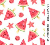 red pink watermelon slices ball ...   Shutterstock . vector #1563689797