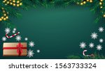 christmas green background with ... | Shutterstock .eps vector #1563733324