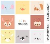 set of pretty little animal... | Shutterstock .eps vector #1563803824
