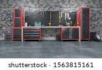 garage interior with stend of... | Shutterstock . vector #1563815161