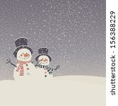 Greeting Card With Snowmen And...