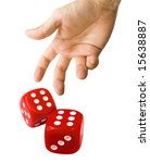 Male Hand Rolling Red Dice...