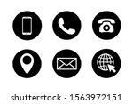 contact icon set in circles.... | Shutterstock .eps vector #1563972151