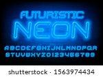 futuristic neon alphabet font.... | Shutterstock .eps vector #1563974434