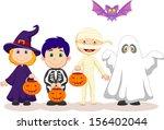 happy halloween party with... | Shutterstock .eps vector #156402044