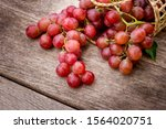 Fresh Red Grape Fruit In Wooden ...