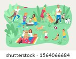 pets and owners  care ... | Shutterstock .eps vector #1564066684