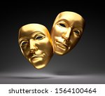 Golden Theater Masks On Black...