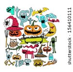 set pumpkins and more for... | Shutterstock .eps vector #156410111