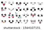 kawaii cute faces. manga style... | Shutterstock .eps vector #1564107151