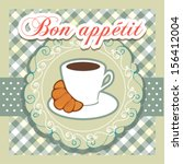 invitation card with croissant... | Shutterstock .eps vector #156412004